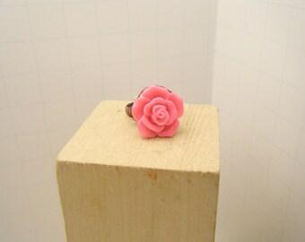 Rose Ring - Pink Rose - Adjustable Rink - Flower Ring