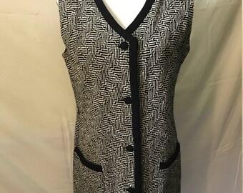 "Vintage 1960's ""Bleeker Street"" Mod Black and White Wool Dress"