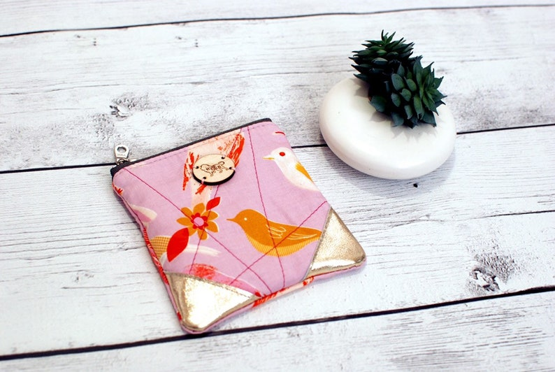 Bird Ruby Star Society Sparrow Zip Pouch Coin Loose Change image 0