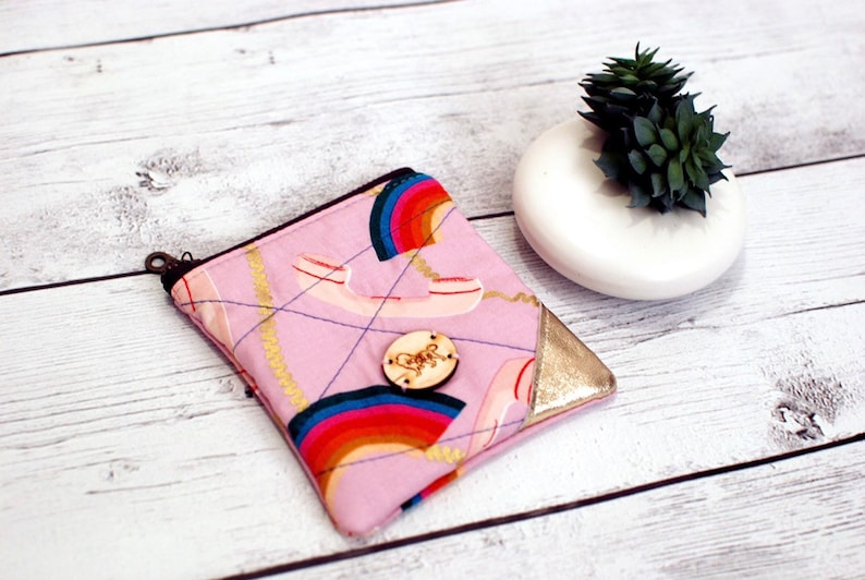 Rainbow Telephone Ruby Star Zip Pouch Coin Loose Change Travel image 0