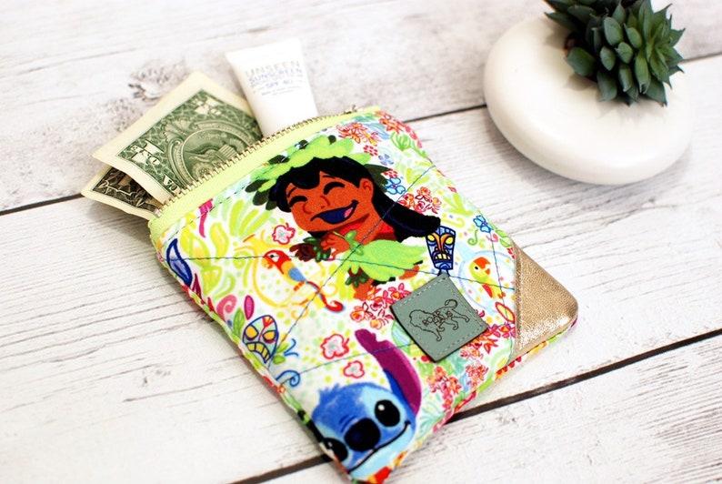 Lilo Stitch Tiki Hut Hula Small Zip Pouch Coin Loose Change image 0