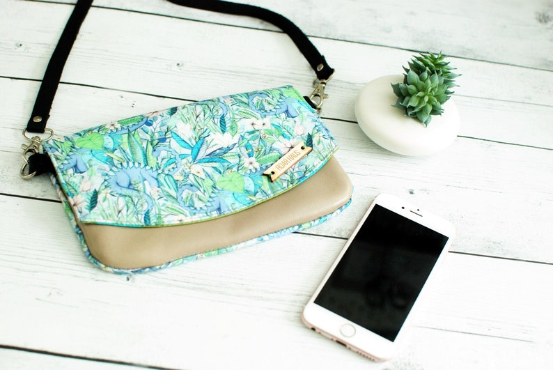 Floral Dino Zip Pouch Coin Loose Change Travel Purse Bag image 0