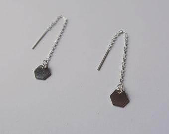 Hexagon threader drop earrings sterling Silver