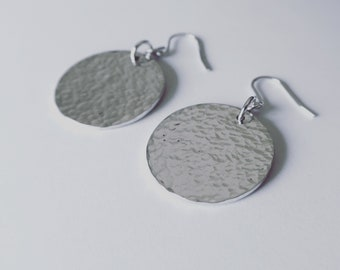 Hammered Texture Sterling Silver Drop Hanging Earrings