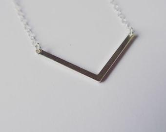 Chevron Necklace Sterling Silver Pendant Geometric Jewellery