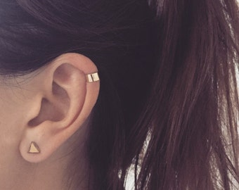 Plain 9ct Gold Ear cuff, helix, 9k solid yellow gold, red gold or white gold ear wrap, ear jacket, trend 9 carat minimal helix, Hex Earcuff