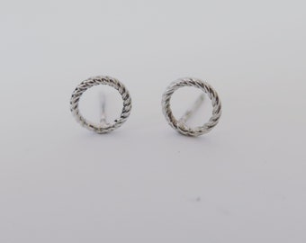 Twisted rope Circle ring sterling silver stud earrings