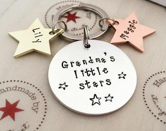 Grandma's Little Stars, Grandmother Gift, Gifts for Grandma, Personalized Grandma Gift, Grandma Keyring, Nanny Gift, Grandma Keychain, Gran