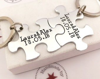 Wedding Gift, Personalised Keyring, Puzzle, Piece, Personalized Keychain, Anniversary Gift, Jigsaw, His and Her Gift, Gifts for Groom, Bride