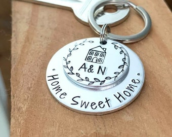 Silver Home Sweet Home Keyring, Moving House Gift, Personalised with Initials, Housewarming Gifts, New Home Gifts, Our House Keys