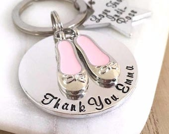Ballet Teacher Gift, Personalised Dancing Keyring, Dance Present, Personalized Keychain, Pink Ballet Shoes Gift, Gifts for Ballet Teacher