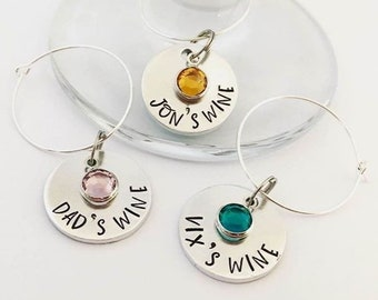 Personalised Wine Glass Charms, Gifts for Prosecco Lovers, Gin Drinkers, Dinner Parties, Wedding Favours, with Birthstones, Mums Wine