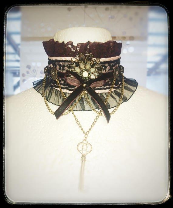Lace Gemstone Gothic Victorian Choker Collar Necklace Pendant Punk Cosplay RU