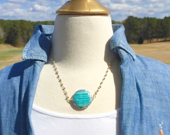 Perfect Summer Beach Necklace! Ocean Agate in Teal, Aqua, Blue and Silver or Gold Pyrite Rosary Chain!