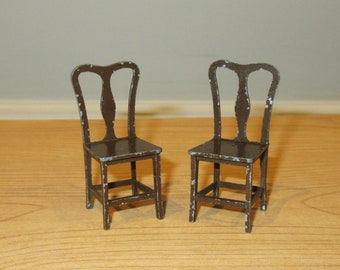 Tootsie Toy Dollhouse Furniture Variety of Brown Metal Chairs Kitchen or Dining Chair Dollhouse Miniatures Tootsietoy USA Half Inch Scale