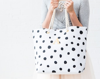 Small Polka Dot Tote Bag Colorful Polka Dot Purse Monogram Tote Bag Custom Gift Tote Wacky Polka Dot Purse Polka Dot Shoulder Bag