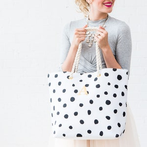 Flower Girl Activity Gift Personalized Tote Bag Bride Wedding Polka Dots  Design Your Own 100s Fabric Choices Big Sister Gift