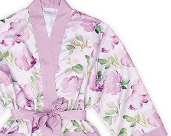 Personalized Purple Floral Kimono Robe - Size 1XL/2XL - Watercolor Robe - Wedding Robe - Kimono - Floral - Bridal Party - Bridesmaid Gift