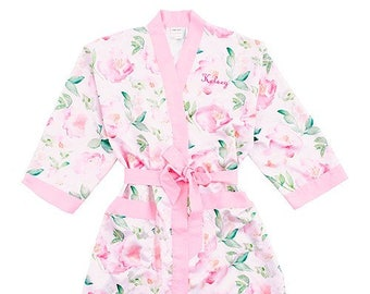 Personalized Floral Kimono Robe - Size S/M - Watercolor Kimono with Pink Trim - Personalized - Floral - Bridal Party Gift - Bridesmaid Gift