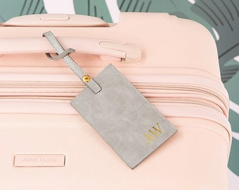 1f6c8abcb982 Personalized Luggage Tag - Faux Leather - Gold Foil Monogram - Globetrotter  - Personalized Gift - Luggage Accessory - Vegan - Traveller
