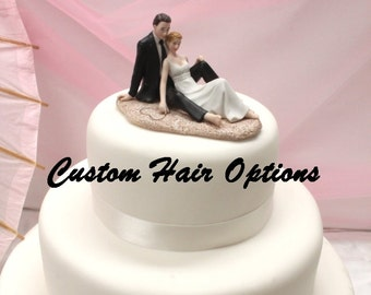 702f88cf69bc23 Personalized Wedding Cake Topper - Beach Wedding - Romantic Couple Lounging  on the Beach Cake Topper - Romantic - Destination Wedding
