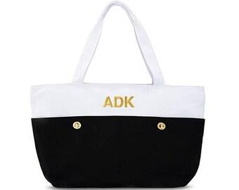 dc32957df9 Personalized Tote Bag - Bride Gift - Bridesmaid Gift - Large Black and White  Tote Bag - Destination Wedding - Beach Wedding - Large Handbag