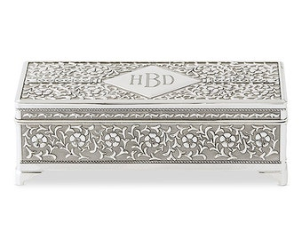 Personalized Jewelry Box - Antique Silver Jewelry Box - Wedding Gift -  Engraved Jewelry Box - Vintage - Personalized - Gifts for Her