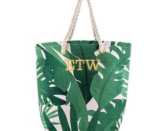 f7ff8aaf0 Personalized Tote Bag - Palm Leaf Print - Tropical Print - Reusable  Shopping Bag - Beach Tote - Canvas Beach Tote - Beach Bag - Custom Bag