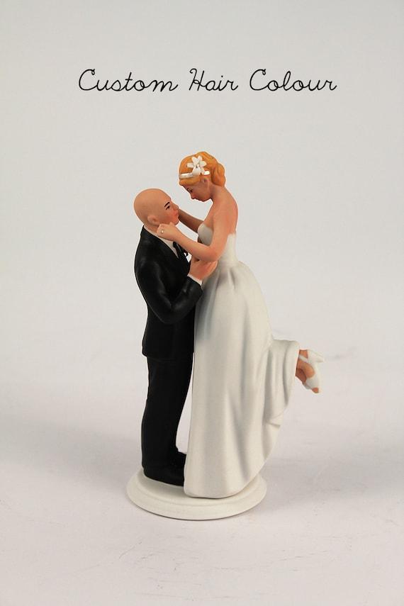 True Romance Interlocking Wedding Cake Topper Bald Groom Wedding Cake Topper Groom Lifting Bride True Love Personalized Custom