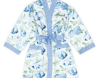 Personalized Blue Floral Kimono Robe - Size 1XL/2XL - Watercolor Robe with Blue Trim - Kimono - Floral - Bridal Party Gift - Bridesmaid Gift