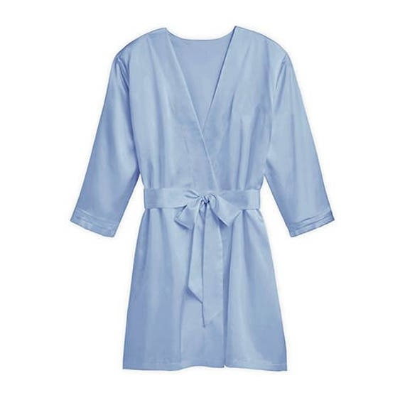 Personalised OMBRE Blue Wedding Robe Dressing Gown Kimono Bridal Party Bride