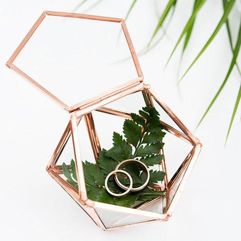 Geometric Terrarium Ring Box Copper Jewelry Box Geometric Wedding Gift Terrarium Ring Box Glass Ring Box Wedding Ring Box