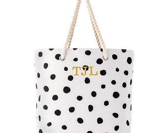 Personalized Tote Bag - Cabana Tote - Large Black and White Polka Dot Tote Bag - Personalized Gift - Valentine's Day Gift - Women's Tote