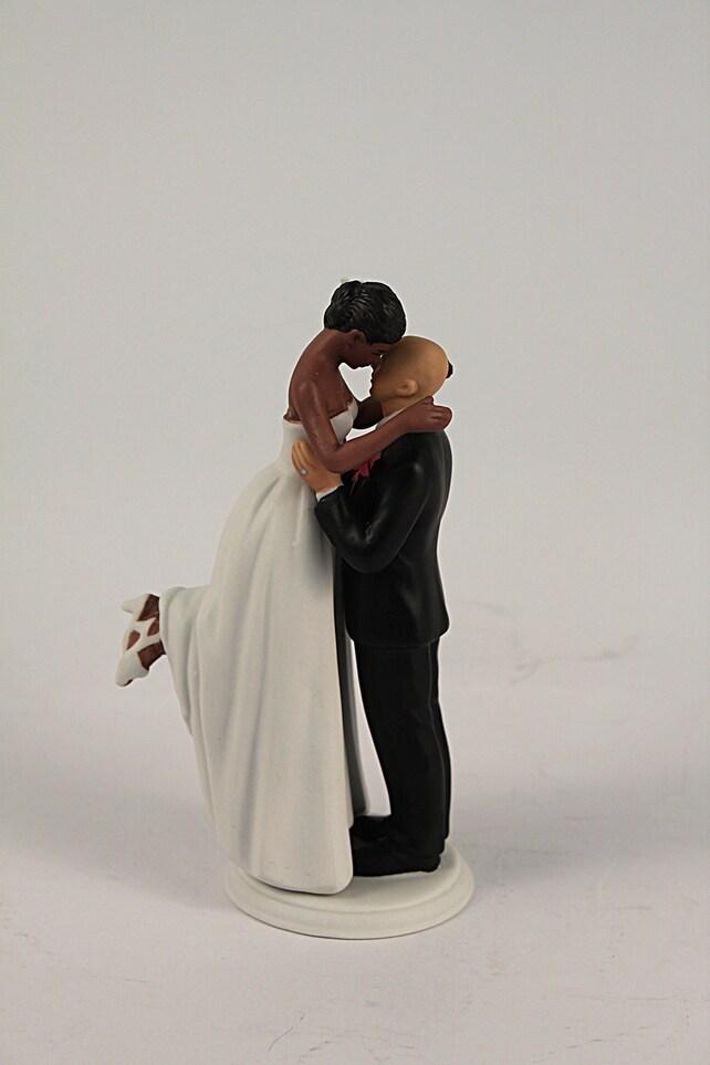 Interlocking Bride And Groom Wedding Cake Topper Medium