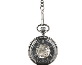 Engraved Pocket Watch - Pocket Watch - Mechanical Pocket Watch - Steampunk - Gears - Mechanical Watch - Men's Pocket Watch - Gift - Present