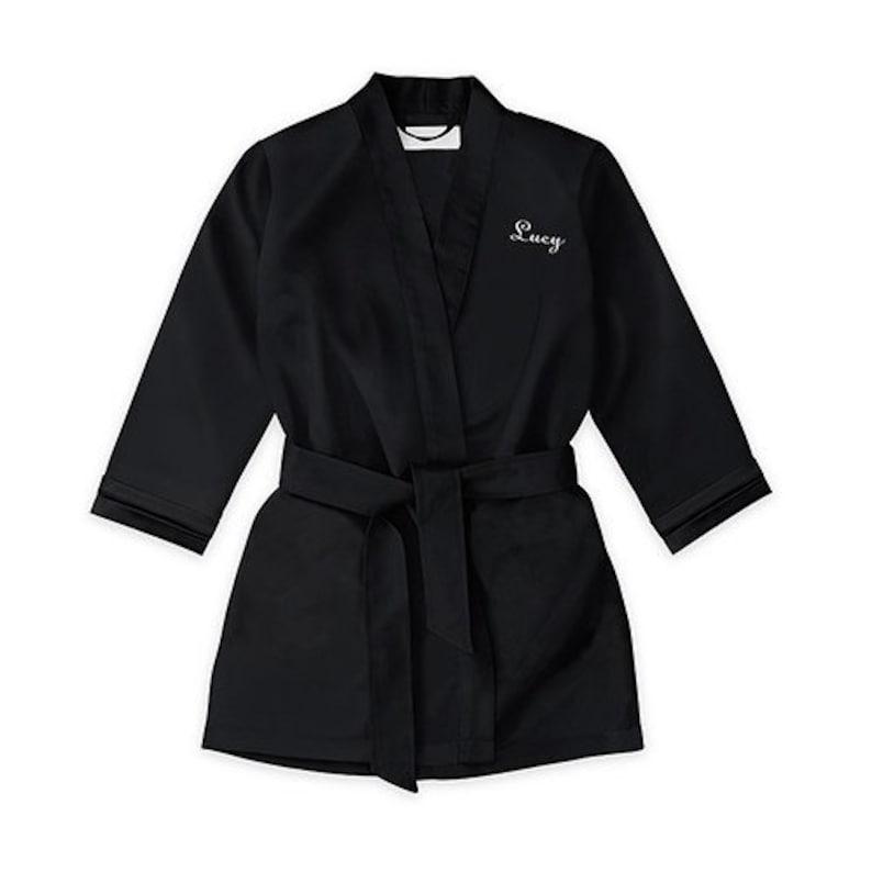 Flower Girl Robe Personalized Children/'s Black Kimono Robe Little Girl/'s Kimono Jet Black Flower Girl Robe Black Kimono