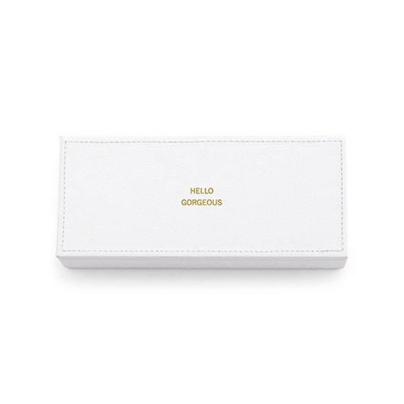 Embossed White Jewelry Box Vegan Gift White Vegan Leather Jewelry Box Hello Gorgeous Vegan Leather Jewellery Box Unique Gift