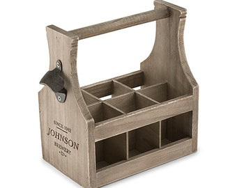 Personalized Wood Beer Caddy With Bottle Opener - Beer Lover Gift - Personalized Groomsman Gift - Beer Holder  - Craft Beer - Brewery Print