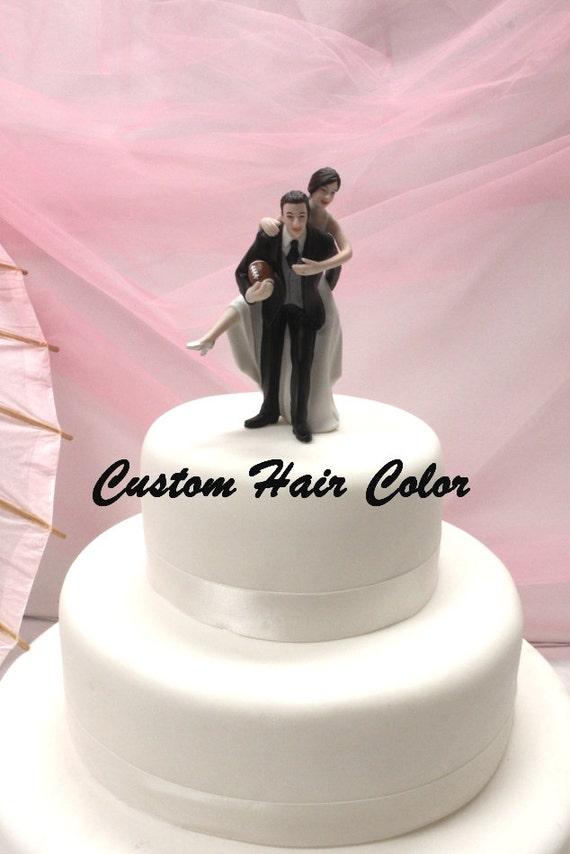 Custom Wedding Cake Topper Football Bride And Groom Etsy