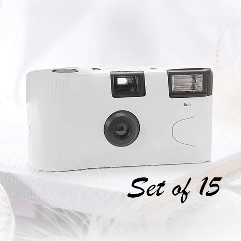15 Disposable Cameras Wedding Favor White Camera White image 0