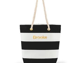Custom Beach Tote Bag - Cabana Tote - Personalized Tote Bag - Large Black and White Striped Tote Bag - Destination Wedding - Beach - Pool