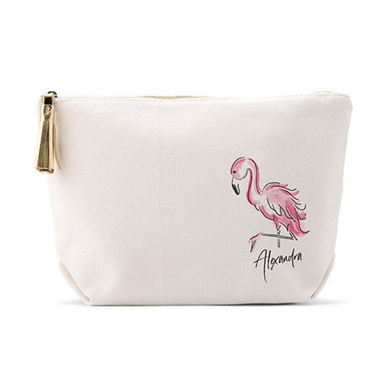 b8bb14bc45f5 Flamingo Makeup Bag - Personalized Cosmetics Bag - Bridal Party Gift - Best  Friends Gift - Stocking Stuffer - Bridesmaid - Bridal Shower