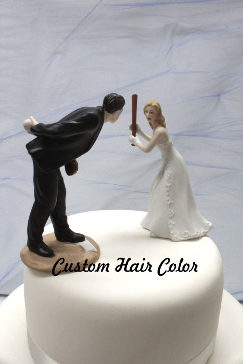 Custom Wedding Cake Topper Personalized Wedding Cake Topper Baseball Wedding Cake Topper Baseball Pitching Groom Home Run Bride