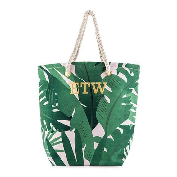 7eb93d3df7 Personalized Tote Bag Palm Leaf Print Tropical Print