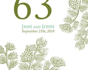 Wedding Table Numbers - Woodland Wedding - Table Numbers - Wedding Supplies - Evergreen Table Numbers - Forest Wedding - Woodland Wedding