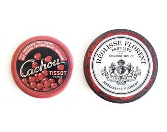 2 French Tin Boxes, Cachou Tissot, Pastille Réglisse Florent, Round Box, Sweet Box, Candy Box, Storage box, Red Tin Box, Collectible Box