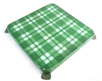 Square Enamel Trivet, Green and White Check French Pan Stand