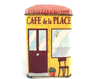 French Vintage Advertising Tin Box Café de la Place