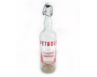 Red Screen Printed Bottle with Ceramic Top Stopper, Silk Screen Oil for Lighting and Heating, Docks des Alcools