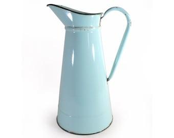 French Enamel Water Jug, Almond Green Pitcher, Peppermint Graniteware Jar, Enamelled Watering Can